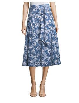 Caralina Tie Waist Cotton Midi Skirt by Veronica Beard