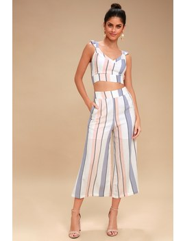 Jen White Multi Striped Culotte Pants by On The Road