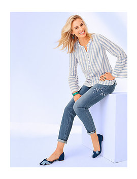 Flounce Seeve Popover   Stripe by Talbots