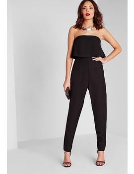 Petite Black Bandeau Overlay Jumpsuit by Missguided