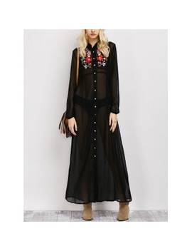Embroidered Maxi Sheer Button Up Casual Maxi Dress by Dress Lily