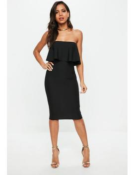 Black Bandeau Frill Midi Dress by Missguided