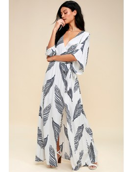 Sign Of The Times White And Navy Blue Leaf Print Maxi Dress by Lulus