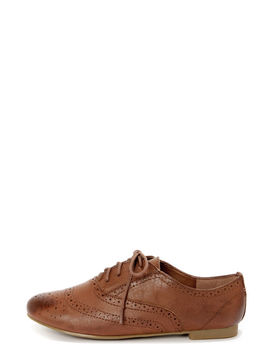 Madden Girl Tremor Cognac Brogue Lace Up Oxfords by Madden Girl
