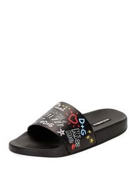 Graffiti Print Leather Pool Slide Sandal by Dolce & Gabbana