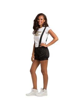 Sweet Vibes Junior Women Black Stretch Satin Overall Shorts Leg Hem by Adidas