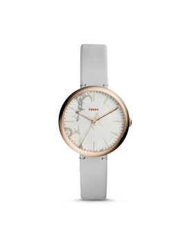Annette Three Hand Mineral Grey Leather Watch by Fossil