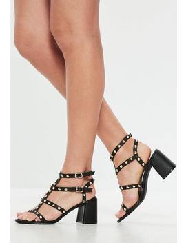 Black Studded Flared Heel Gladiator Sandals by Missguided