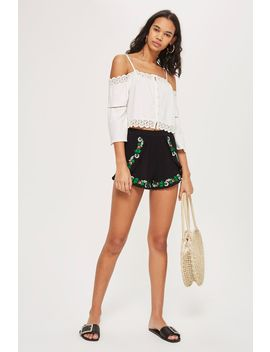 Crinkle Flower Embroidery Shorts by Topshop
