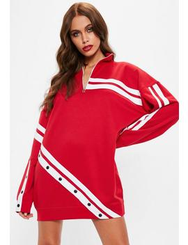 Red Long Sleeve Sports Stripe Sweater Dress by Missguided