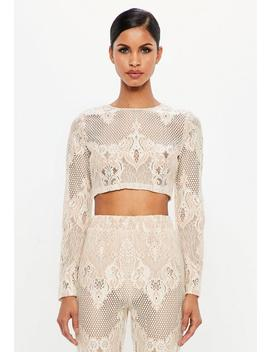 Peace + Love Nude Lace Long Sleeve Crop Top by Missguided