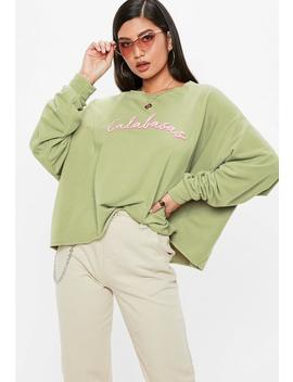 Khaki Calabasas Cropped Sweatshirt by Missguided