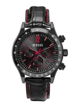 Versus Men's Quartz Watch With Black Dial Chronograph Display And Black Leather Strap Sgc04 0012 by