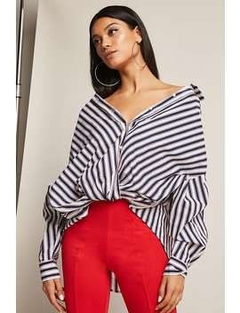 Twist Front Stripe Shirt by Forever 21