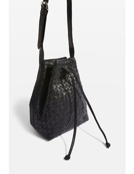Leather Woven Bucket Bag by Topshop