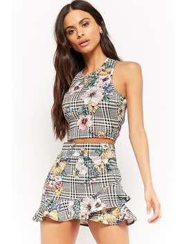 Houndstooth Crop Top &Amp; Skirt Set by F21 Contemporary
