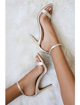 Loveliness Blush Satin Ankle Strap Heels by Lulus