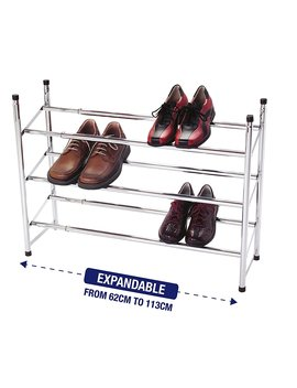 3 Tier Extendable Stackable Shoe Rack Organiser Storage Metal Chrome Plated by Amazon