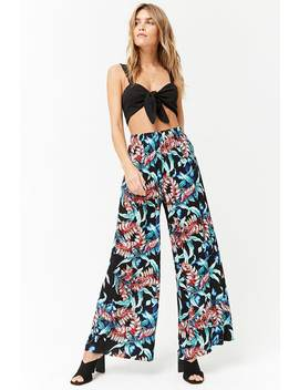Foliage Print Wide Leg Pants by F21 Contemporary