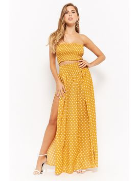 Polka Dot Tube Top &Amp; Maxi Skirt Set by F21 Contemporary