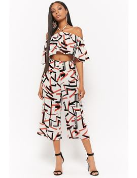 Geo Print Crop Top &Amp; Culottes Set by F21 Contemporary