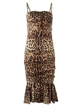Women's Ruched Leopard Print Silk Cady Midi Dress by Dolce & Gabbana
