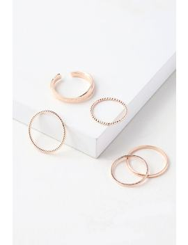Flash Of Light Rose Gold Ring Set by Lulus