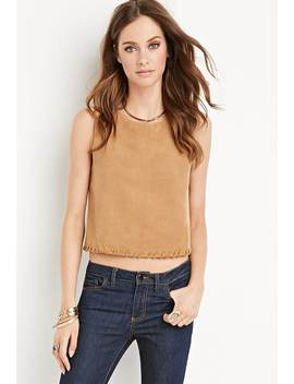 Whipstitched Faux Suede Top by Forever 21