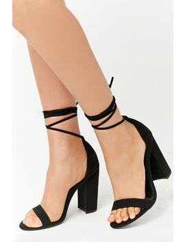 Faux Suede Wraparound Heels by Forever 21