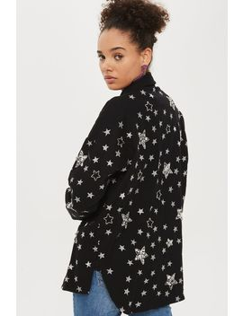 Petite Star Embroidered Shacket by Topshop