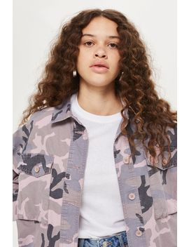 Petite Raw Hem Camouflage Shacket by Topshop