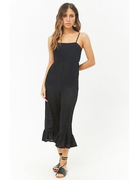 Gauze Cutout Ruffle Hem Jumpsuit by Forever 21