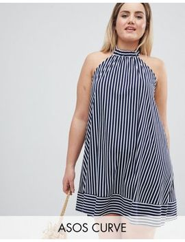 Asos Design Curve Halter Swing Sundress In Cut About Stripe by Asos Design