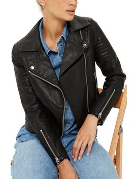 Blossom Faux Leather Biker Jacket by Topshop