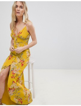 Hope & Ivy Cami Strap Button Front Maxi Dress With Cutout Back In Floral Print by Hope And Ivy