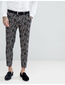 Devil's Advocate Skinny Fit Floral Cropped Suit Pants by Suit Pants
