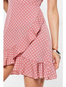 Pink Wrap Front Polka Dot Sundress by Missguided