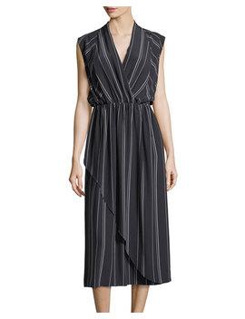 Multi Stripe Silk Cross Front Dress by Vince