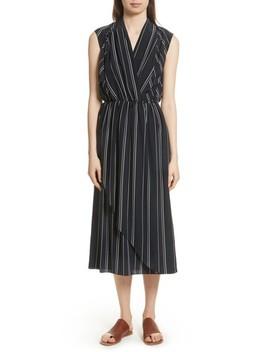 Draped Front Stripe Silk Midi Dress by Vince