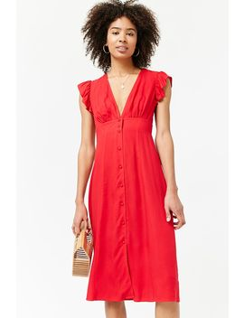 Plunging Button Front Dress by Forever 21