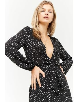 Plunging Polka Dot Mini Dress by Forever 21