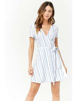 Striped Surplice Wrap Dress by Forever 21