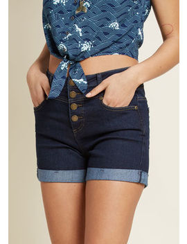 Karaoke Seamstress High Waisted Shorts In Dark Wash Karaoke Seamstress High Waisted Shorts In Dark Wash by Modcloth