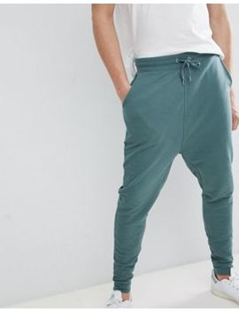 Asos Design Tall Drop Crotch Joggers In Washed Green by Asos Design