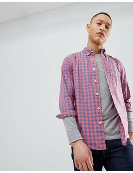 Abercrombie & Fitch Poplin Gingham Check Button Down Collar Shirt In Red by Abercrombie & Fitch
