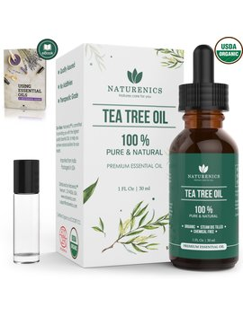 Naturenics Tea Tree Essential Oil | 100 Percents Usda Organic Melaleuca Alternifolia Therapeutic Grade | Natures Solution For Acne, Lice, Toenail Fungus, Hair, Face,Skin Problems | Roll On... by Naturenics