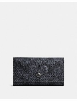 Four Ring Key Case In Signature Canvas by Coach