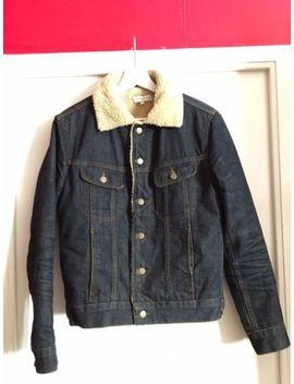 Sandro Paris Raw Denim Blue Shearling Sherpa Jacket Size Xs / Extra Small by Sandro