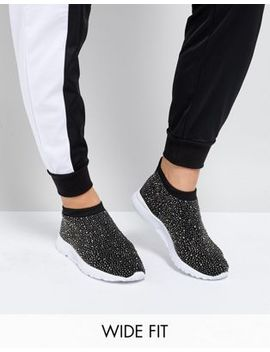 Asos Dusk Wide Fit Embellished Sock Sneakers by Asos Collection