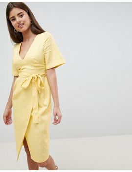 Asos Design Linen Midi Pencil Dress With Kimono Sleeve by Asos Design